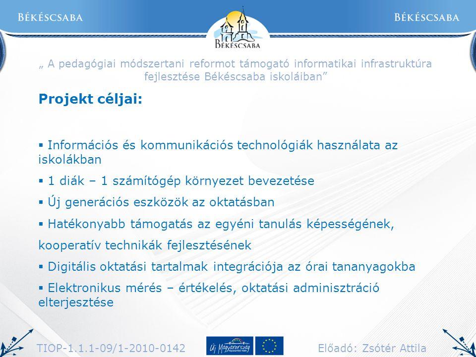 """"""" A pedagógiai módszertani reformot támogató informatikai infrastruktúra fejlesztése Békéscsaba iskoláiban"""