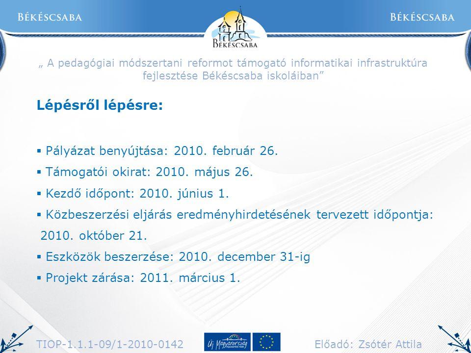 Lépésről lépésre: Pályázat benyújtása: 2010. február 26.