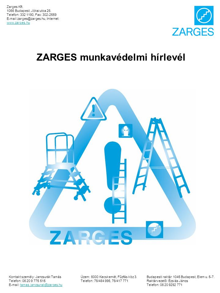 ZARGES munkavédelmi hírlevél