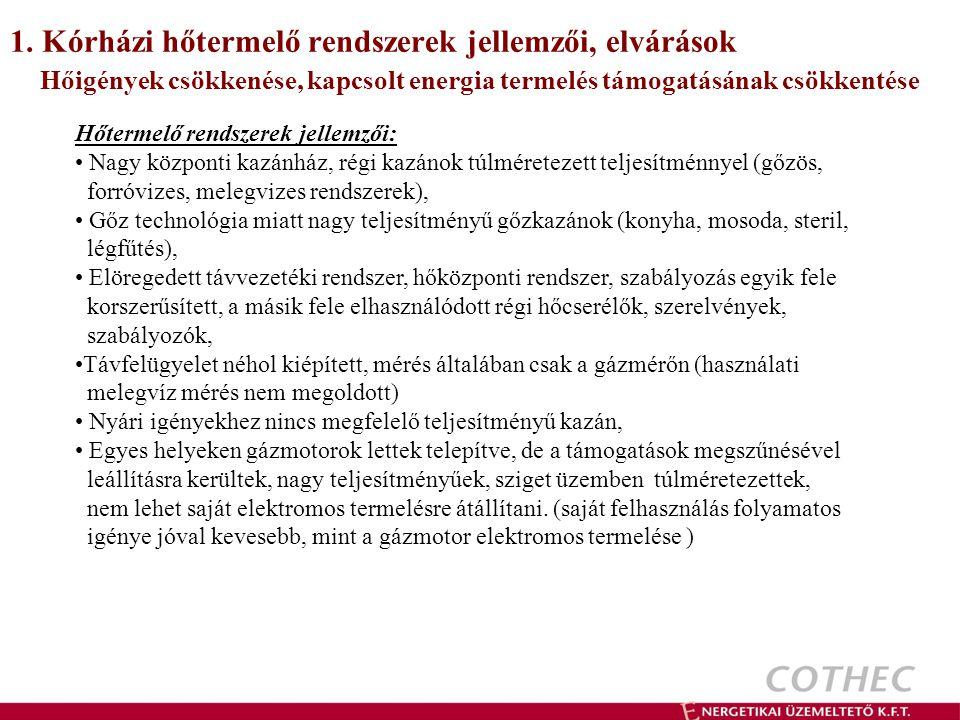1. Kórházi hőtermelő rendszerek jellemzői, elvárások
