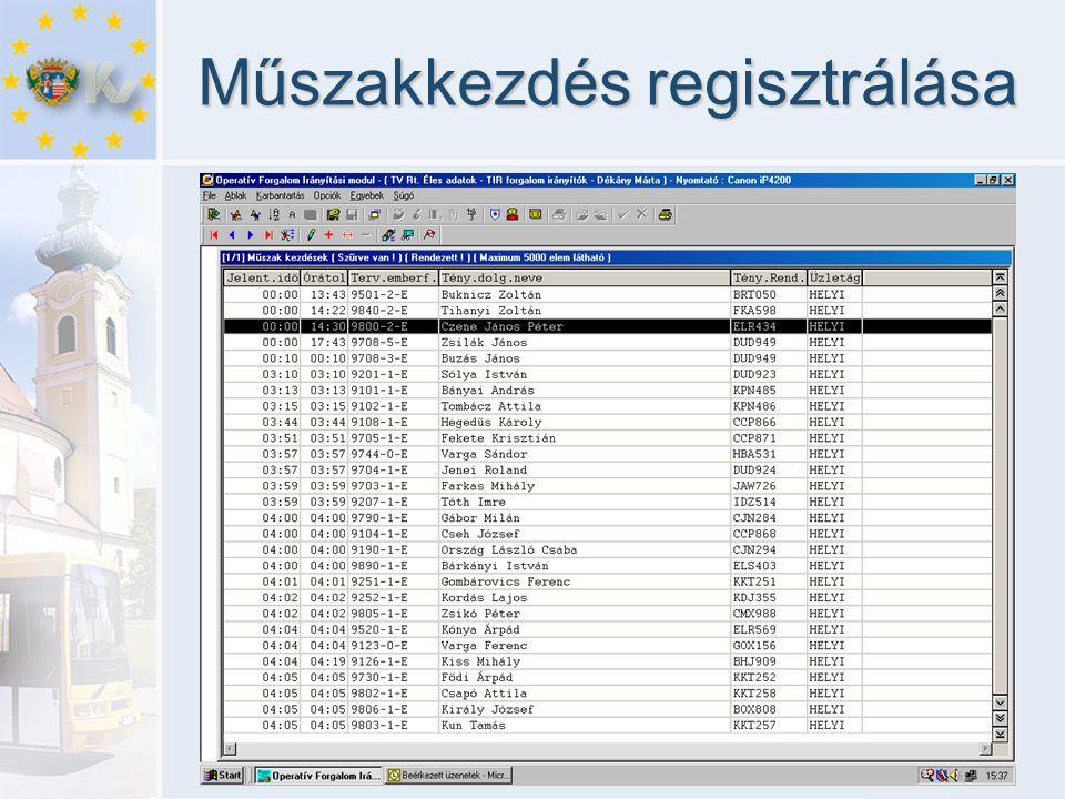 Műszakkezdés regisztrálása