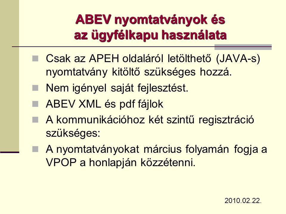 ABEV nyomtatványok és az ügyfélkapu használata