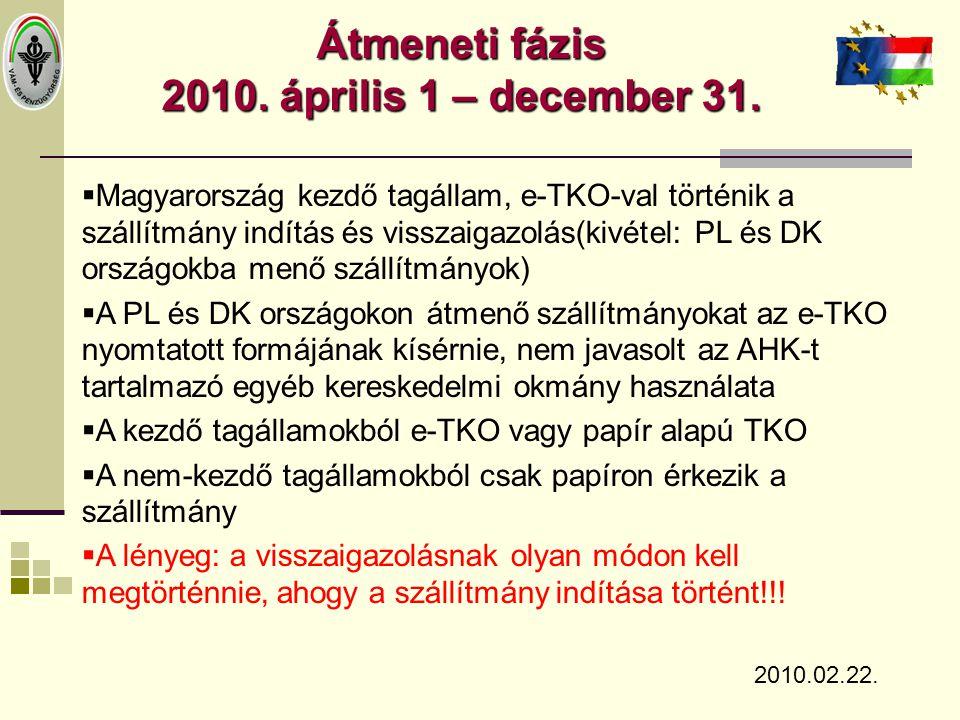 Átmeneti fázis 2010. április 1 – december 31.