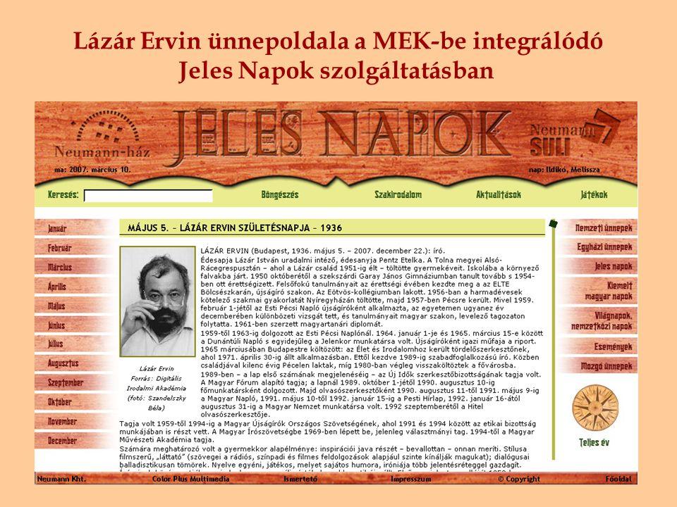 Lázár Ervin ünnepoldala a MEK-be integrálódó