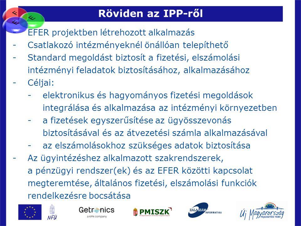 Röviden az IPP-ről F E E EFER projektben létrehozott alkalmazás