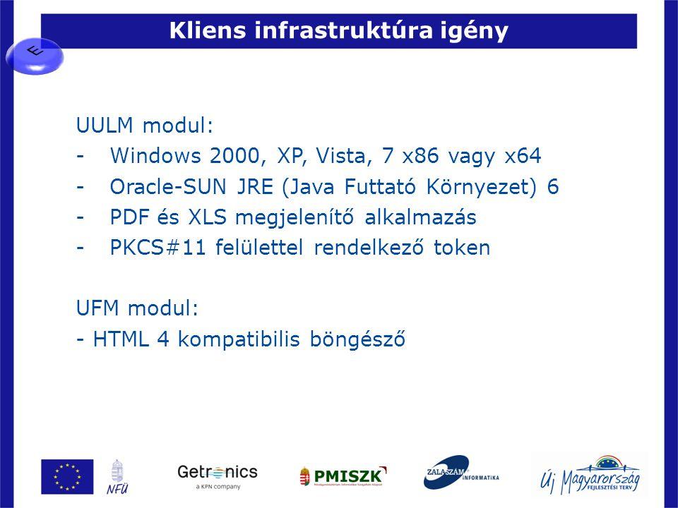 Kliens infrastruktúra igény