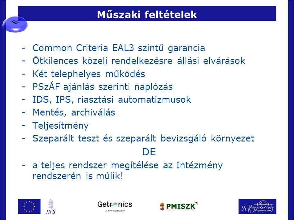 Műszaki feltételek DE Common Criteria EAL3 szintű garancia