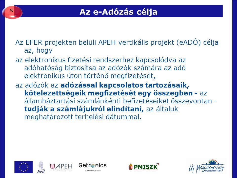 F Az e-Adózás célja. Az EFER projekten belüli APEH vertikális projekt (eADÓ) célja az, hogy.