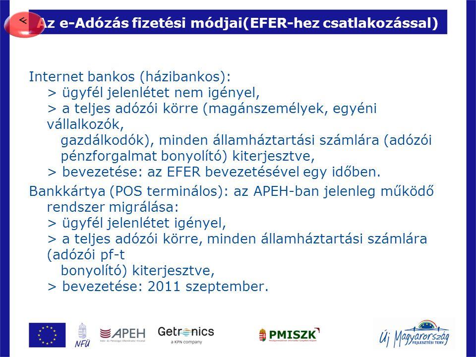 Az e-Adózás fizetési módjai(EFER-hez csatlakozással)