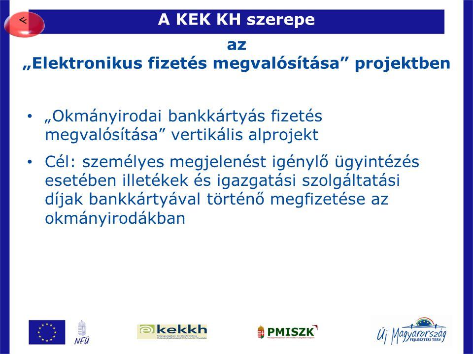 """A KEK KH szerepe az """"Elektronikus fizetés megvalósítása projektben"""