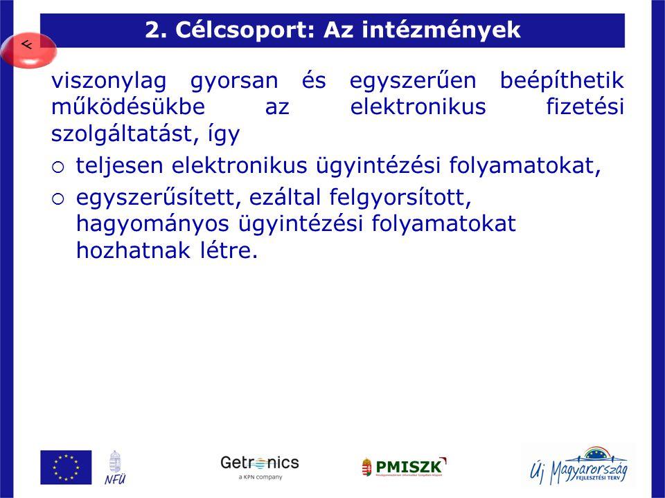 2. Célcsoport: Az intézmények