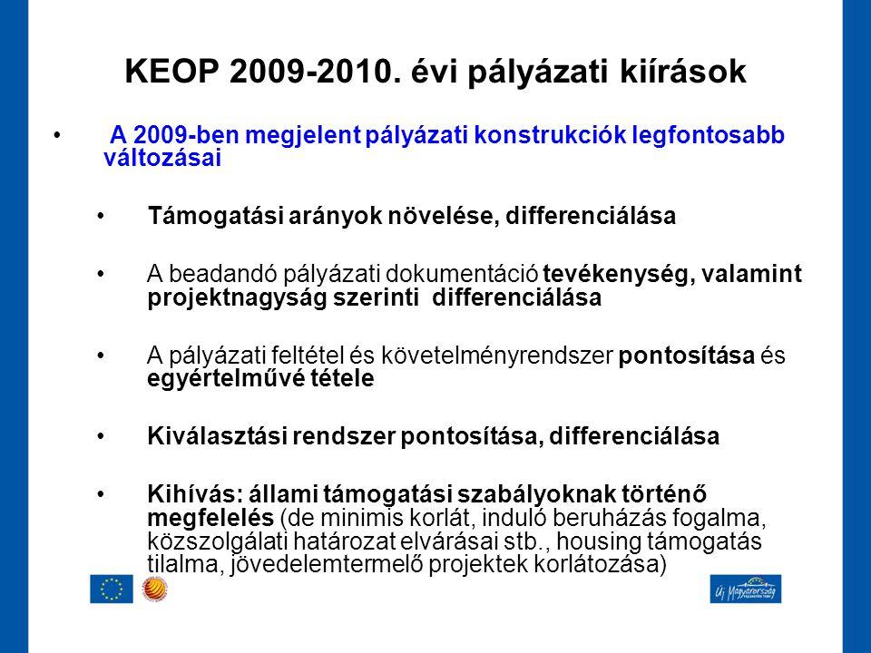 KEOP 2009-2010. évi pályázati kiírások