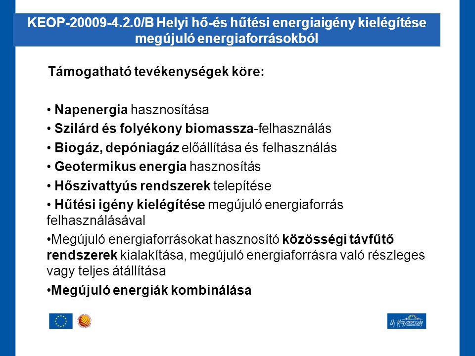 KEOP-20009-4.2.0/B Helyi hő-és hűtési energiaigény kielégítése megújuló energiaforrásokból