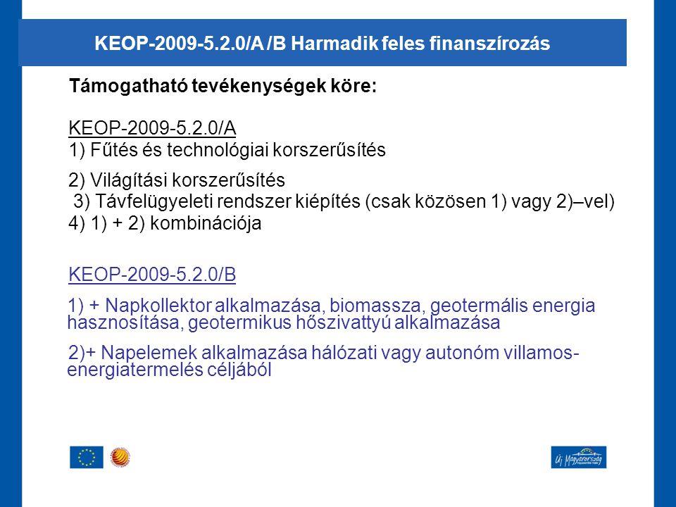 KEOP-2009-5.2.0/A /B Harmadik feles finanszírozás