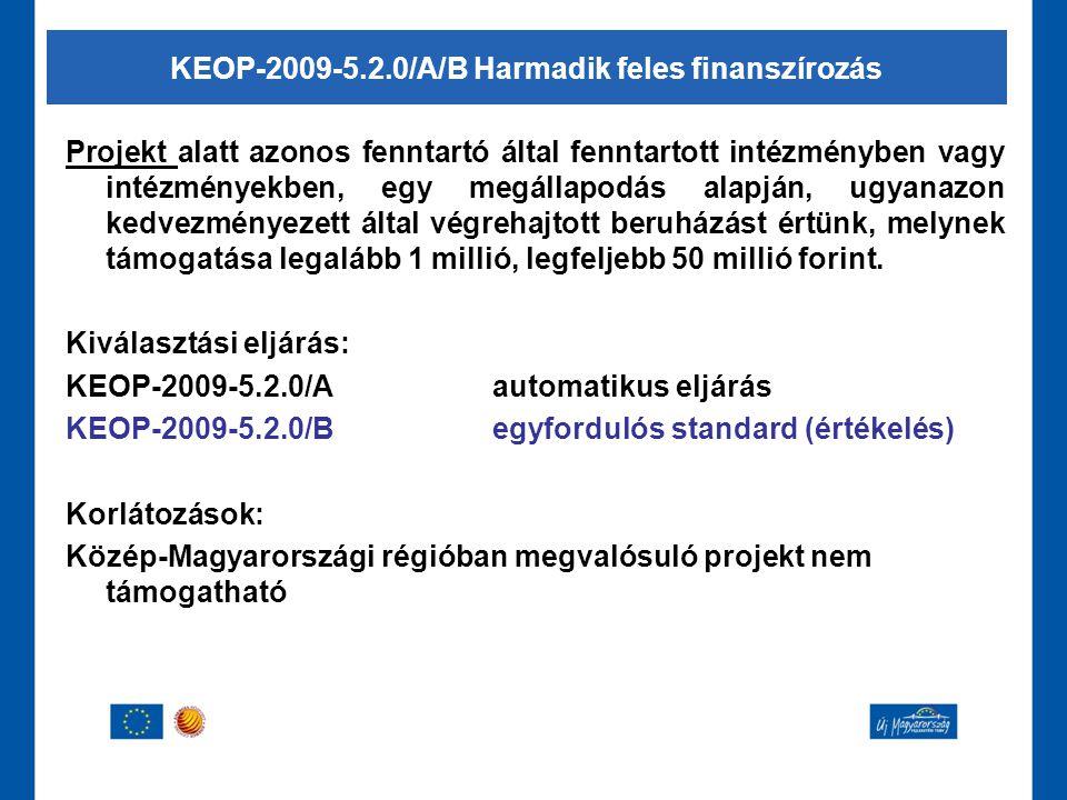 KEOP-2009-5.2.0/A/B Harmadik feles finanszírozás