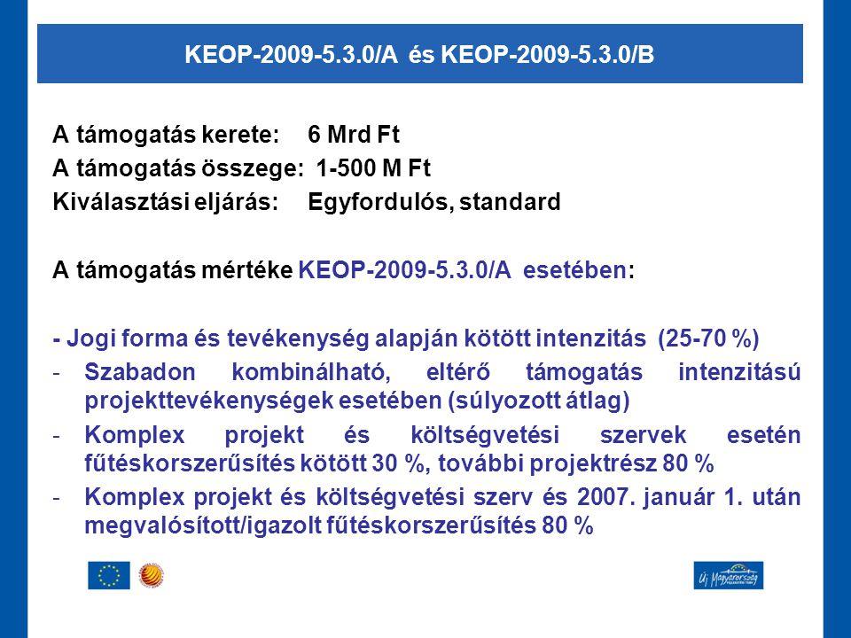 KEOP-2009-5.3.0/A és KEOP-2009-5.3.0/B A támogatás kerete: 6 Mrd Ft. A támogatás összege: 1-500 M Ft.