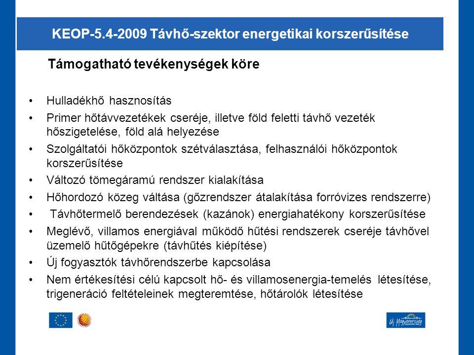 KEOP-5.4-2009 Távhő-szektor energetikai korszerűsítése