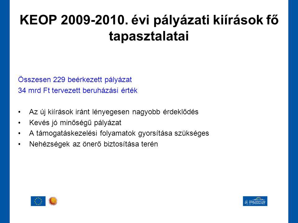 KEOP 2009-2010. évi pályázati kiírások fő tapasztalatai
