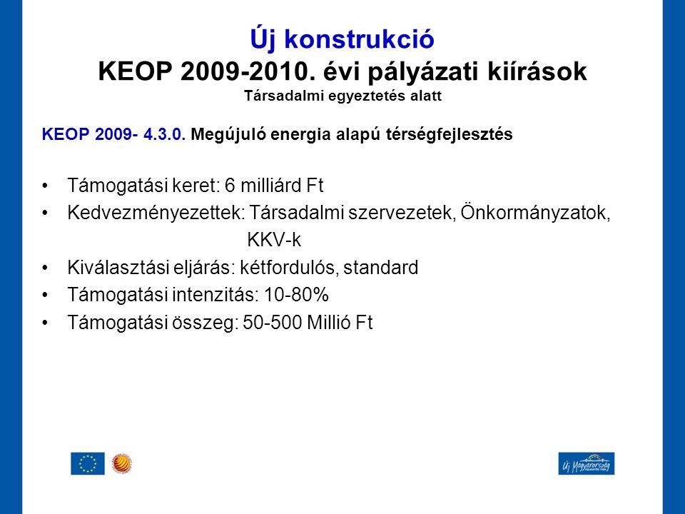 Új konstrukció KEOP 2009-2010. évi pályázati kiírások Társadalmi egyeztetés alatt