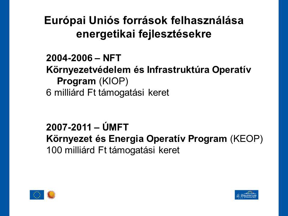 Európai Uniós források felhasználása energetikai fejlesztésekre