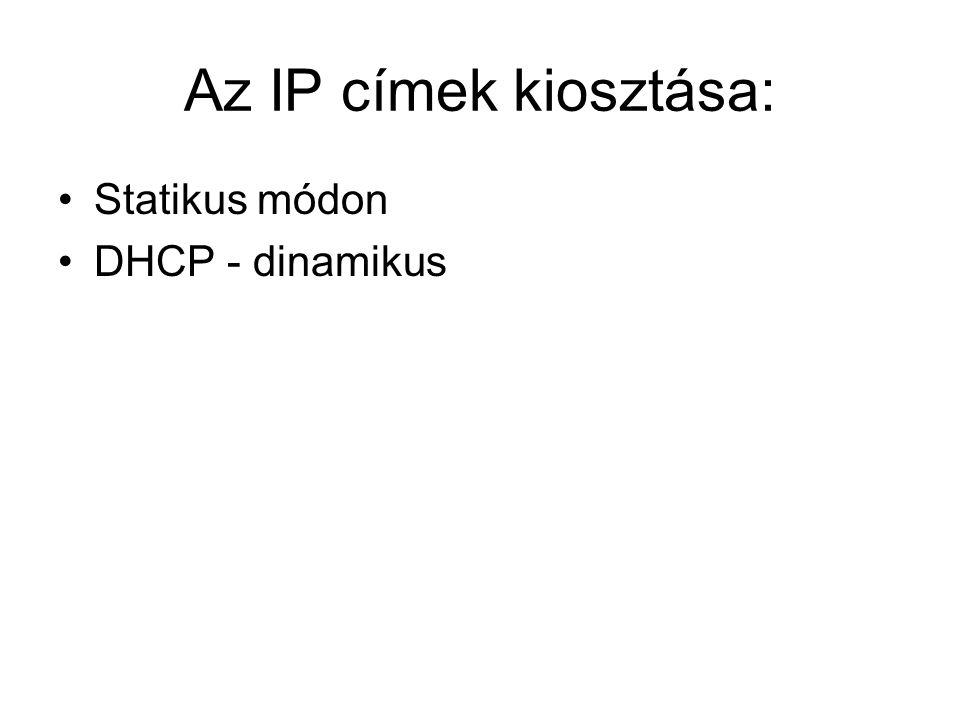 Az IP címek kiosztása: Statikus módon DHCP - dinamikus
