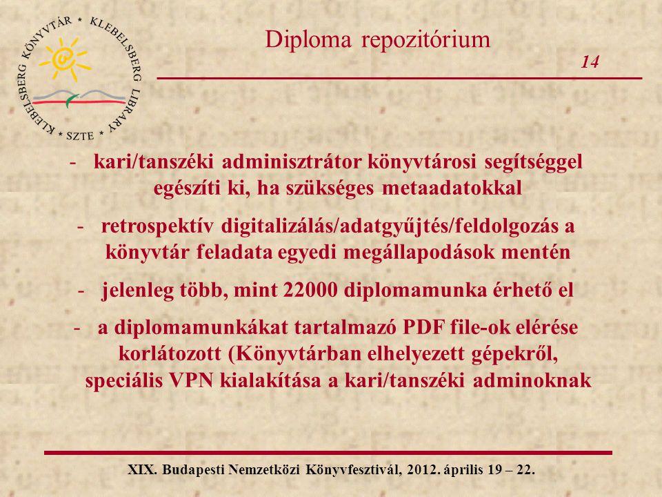 14 Diploma repozitórium. kari/tanszéki adminisztrátor könyvtárosi segítséggel egészíti ki, ha szükséges metaadatokkal.