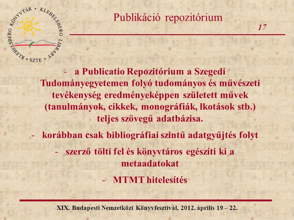 Publikáció repozitórium