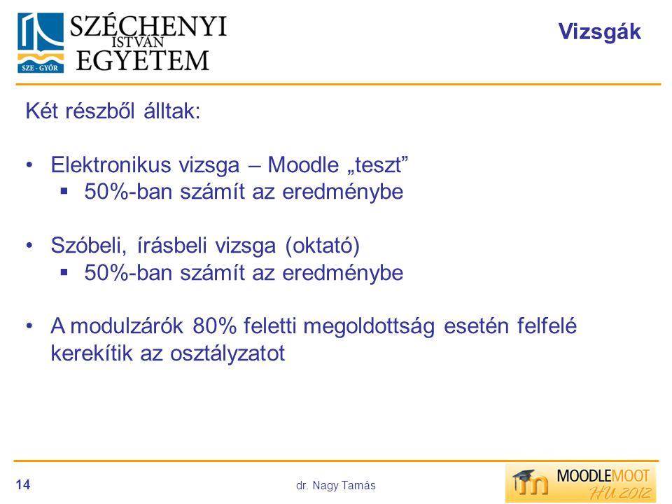 """Elektronikus vizsga – Moodle """"teszt 50%-ban számít az eredménybe"""