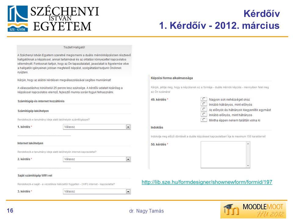 Kérdőív 1. Kérdőív - 2012. március 16 dr. Nagy Tamás