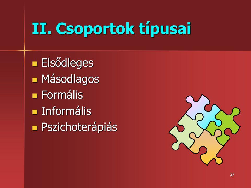 II. Csoportok típusai Elsődleges Másodlagos Formális Informális