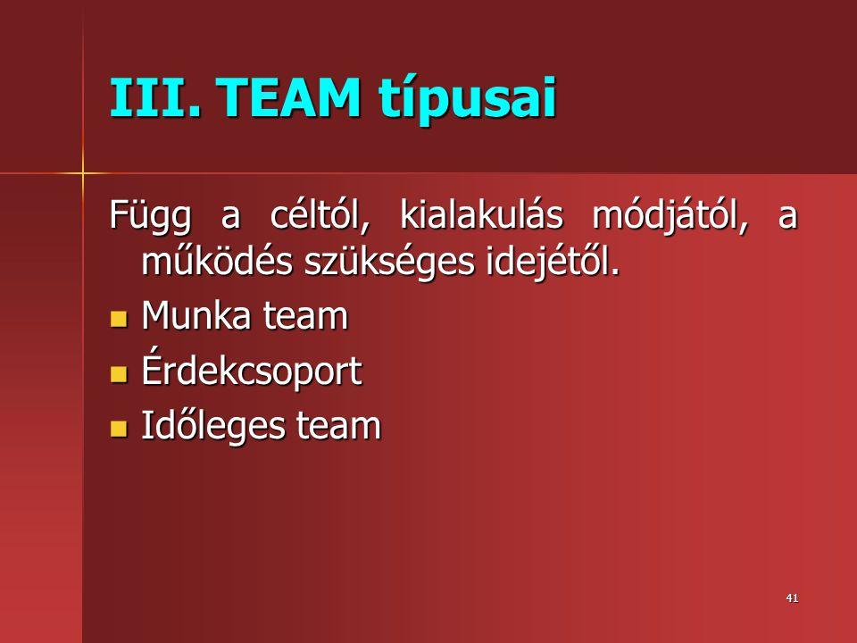 III. TEAM típusai Függ a céltól, kialakulás módjától, a működés szükséges idejétől. Munka team. Érdekcsoport.