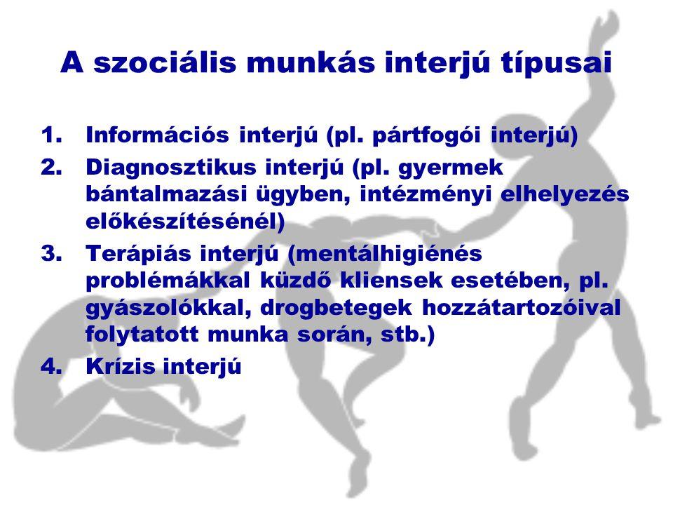 A szociális munkás interjú típusai