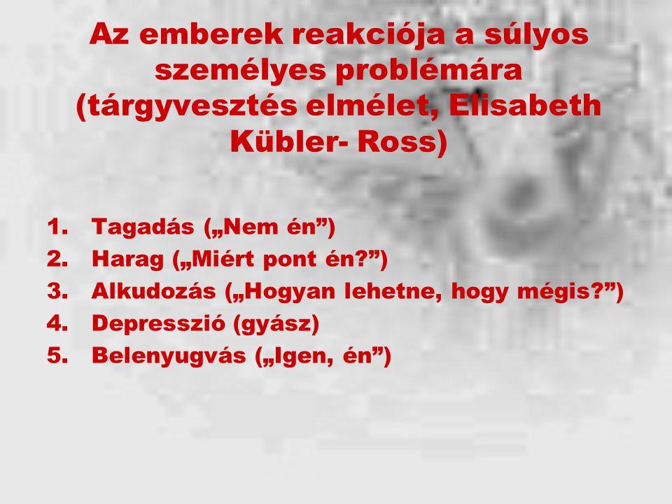 Az emberek reakciója a súlyos személyes problémára (tárgyvesztés elmélet, Elisabeth Kübler- Ross)