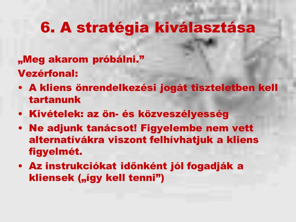 6. A stratégia kiválasztása