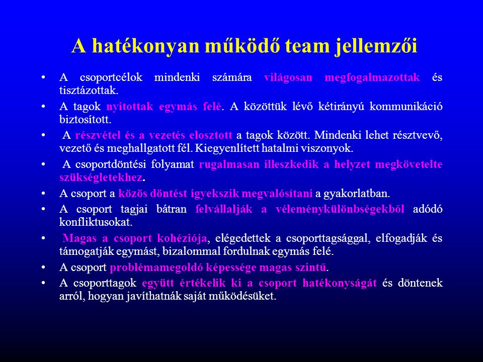 A hatékonyan működő team jellemzői