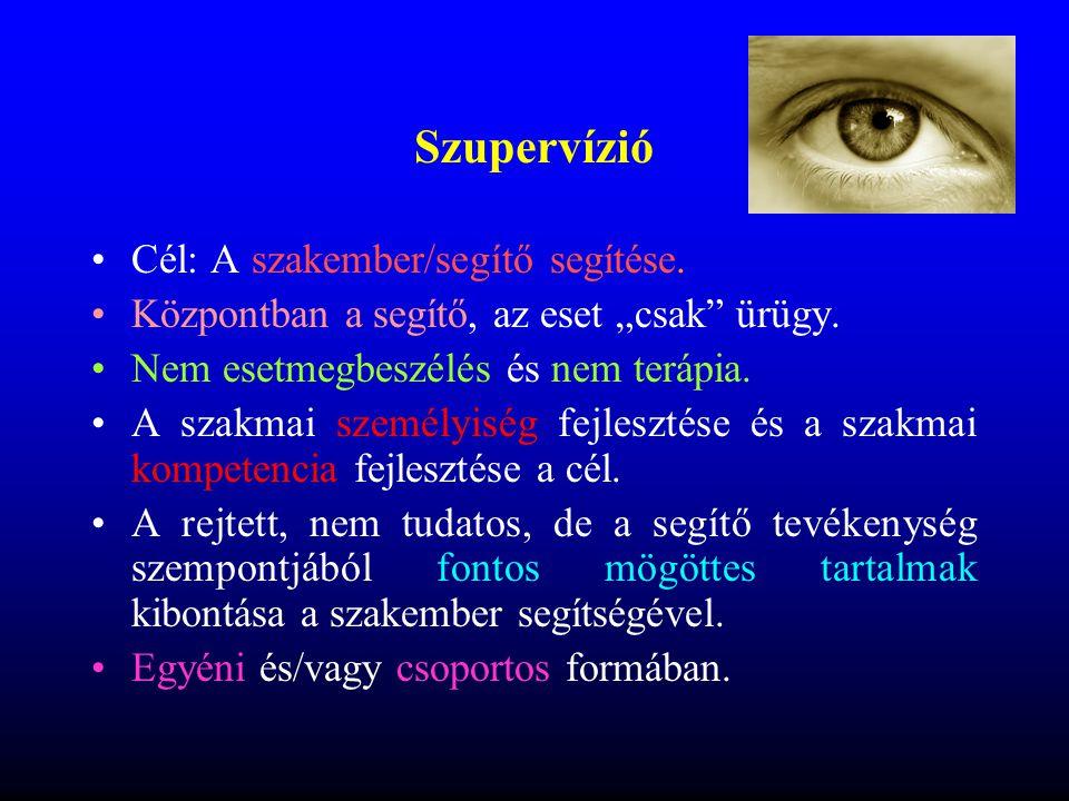 Szupervízió Cél: A szakember/segítő segítése.