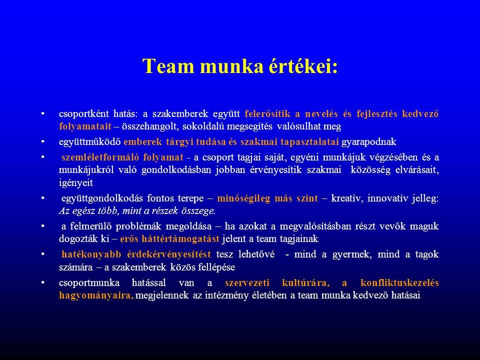 Team munka értékei: