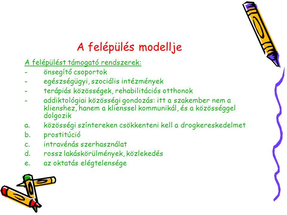A felépülés modellje A felépülést támogató rendszerek: