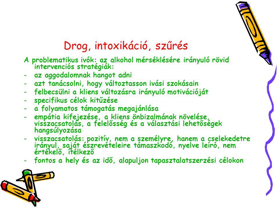 Drog, intoxikáció, szűrés