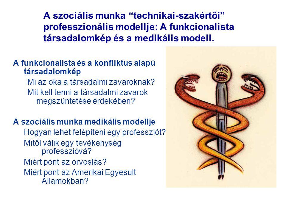 A szociális munka technikai-szakértői professzionális modellje: A funkcionalista társadalomkép és a medikális modell.