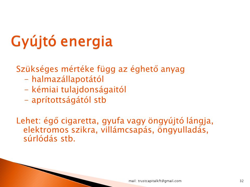 Gyújtó energia Szükséges mértéke függ az éghető anyag
