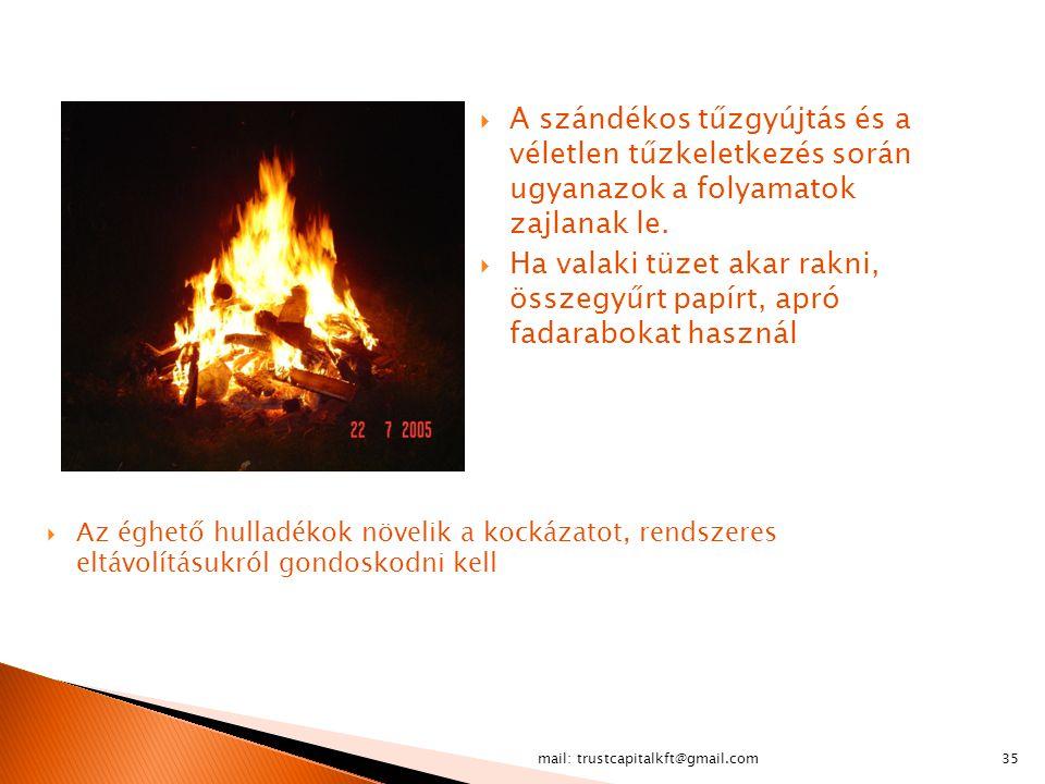 A szándékos tűzgyújtás és a véletlen tűzkeletkezés során ugyanazok a folyamatok zajlanak le.