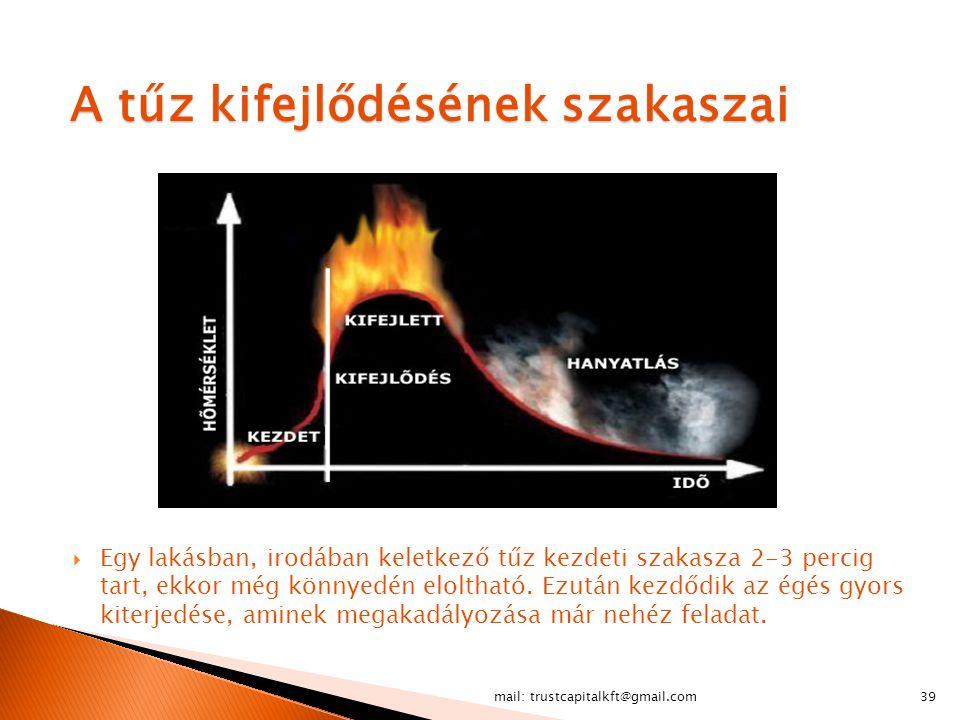 A tűz kifejlődésének szakaszai