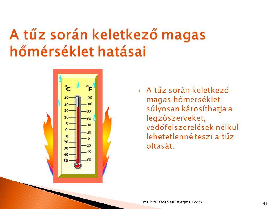 A tűz során keletkező magas hőmérséklet hatásai