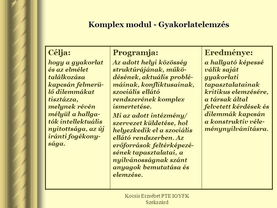 Komplex modul - Gyakorlatelemzés