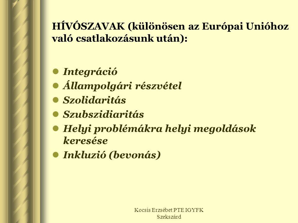 HÍVÓSZAVAK (különösen az Európai Unióhoz való csatlakozásunk után):