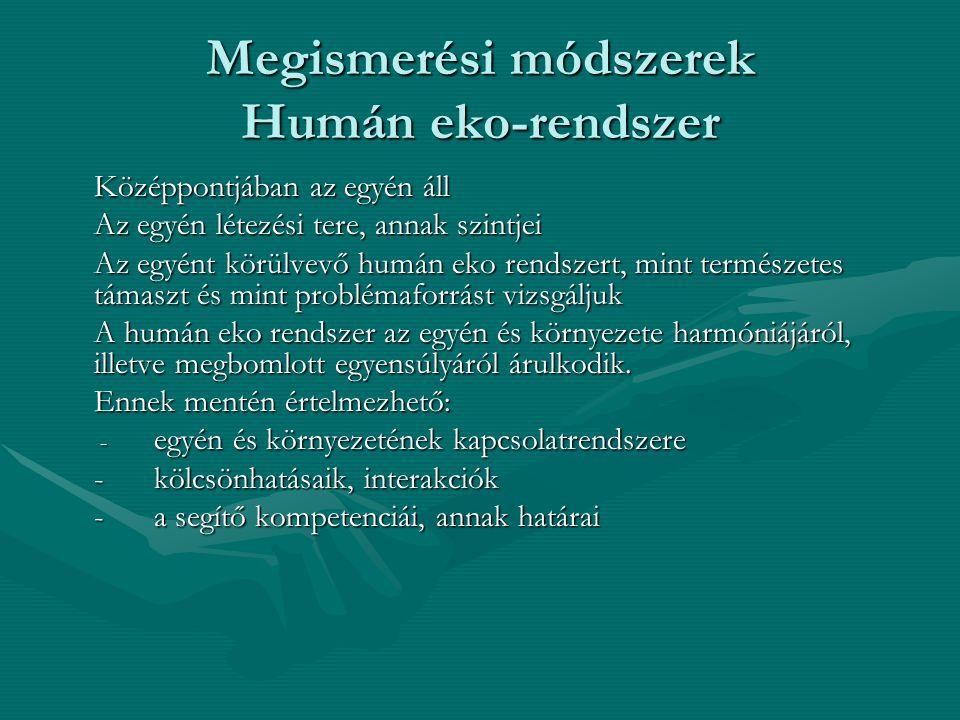 Megismerési módszerek Humán eko-rendszer