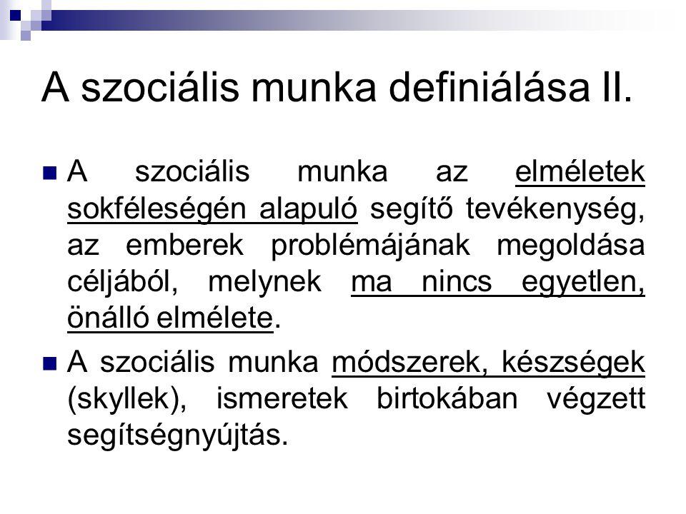 A szociális munka definiálása II.