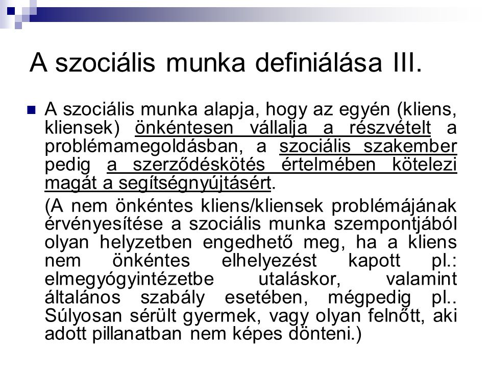 A szociális munka definiálása III.