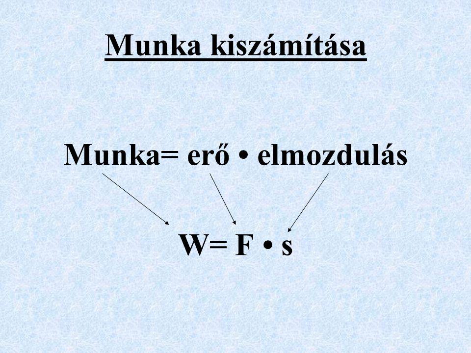 Munka= erő • elmozdulás